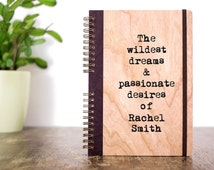 Personalized Notebook, Custom Quote,  Personalized Journal, Graduation Gift Notebook, Wooden Notebook, Cherry Wood Notebook, Custom Notebook