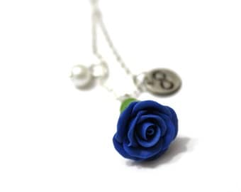 Rosebud Infinity Necklace Blue Rose Necklace, Flower Jewelry, Infinity Necklace, Bridesmaid Necklace, Blue Rose Jewelry