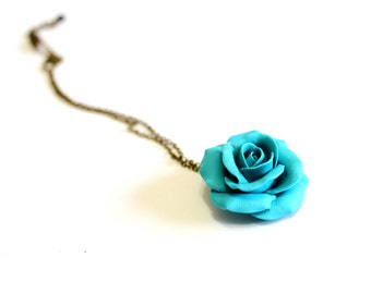 Turquoise Rose Necklace - Pendant, Rose Charm, Love Necklace, Bridesmaid Necklace, Flower Girl Jewelry, Turquoise Bridesmaid Jewelry