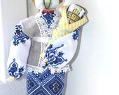 Art doll textile OOAK stuff doll Collecting fabric doll Cloth Doll Rag doll Amulet Good Luck Talisman handcrafted GIFT for her Christmas