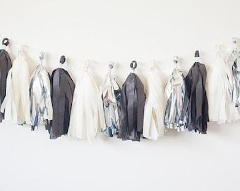 Ivory, Silver, Black Tassel Garland