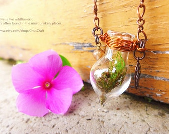 Nature Bohemian jewelry,  Live Plant Necklace, Glass Vase Necklace, Flower Vase Jewelry, Wearable Planter Necklace, Live Terrarium Necklace