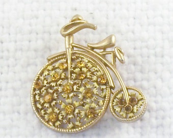 Vintage Old Fashioned Big Wheel Bicycle Pin Brooch with Amber Rhinestones