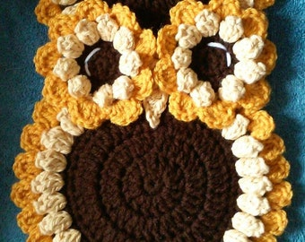 Crochet Beautiful Sunflower Owl Potholder Pattern Only