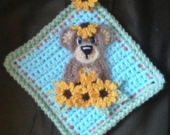Sunflower Bear Potholder Pattern Only