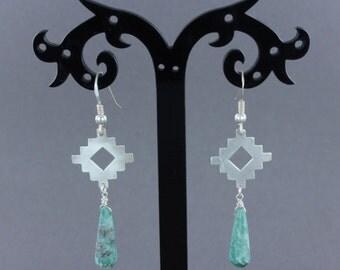 Turquoise earrings- Sterling silver earrings - Southwestern earrings - Handmade