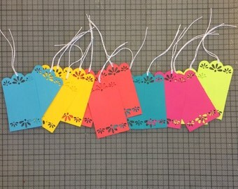 Hang Tags, Paper Cut Gift Tag, Mexican Fiesta Wedding, Papel Picado Maraca Tag, Set of 12