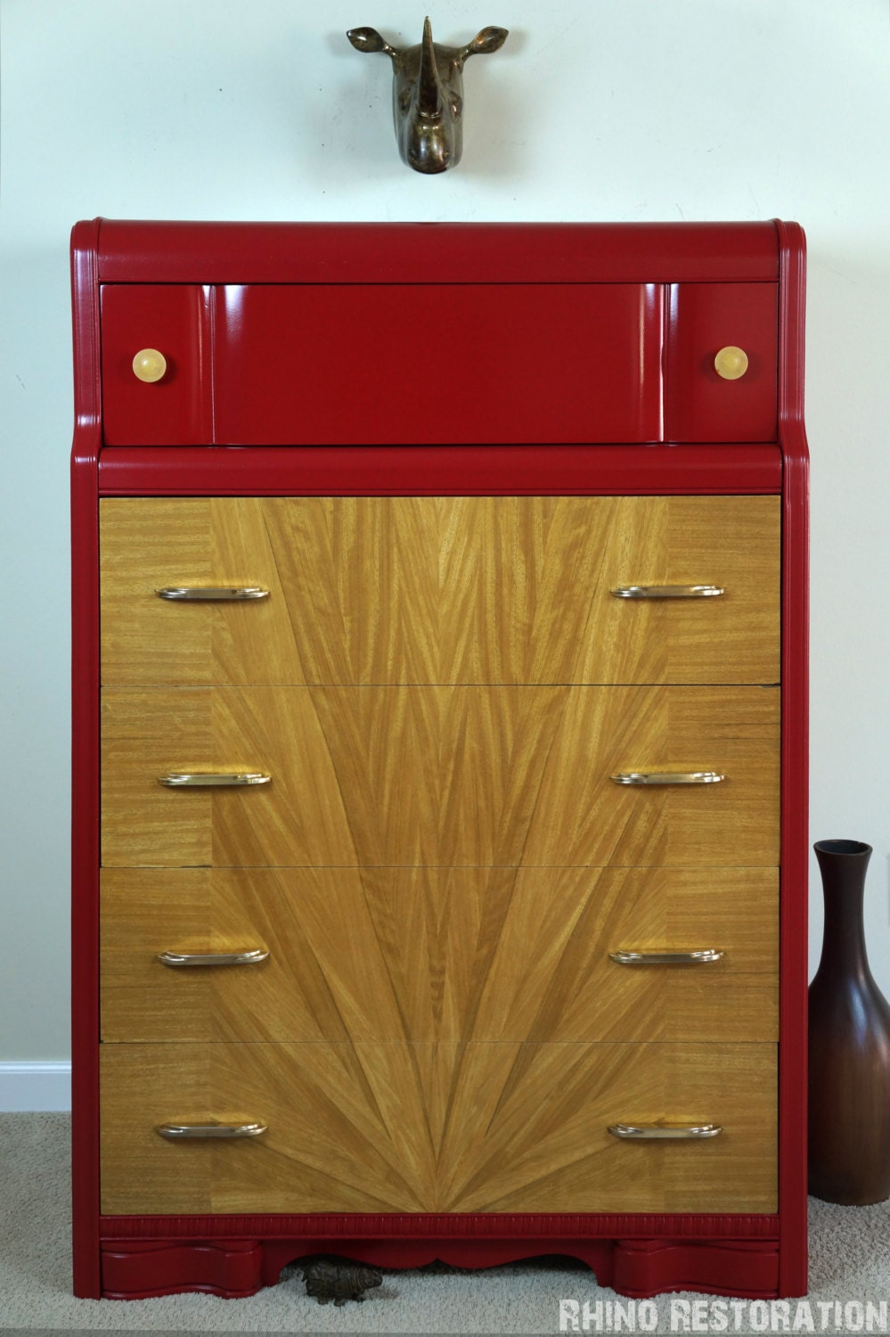 Red Art Deco Waterfall 5 Drawer Dresser With By RhinoRestoration
