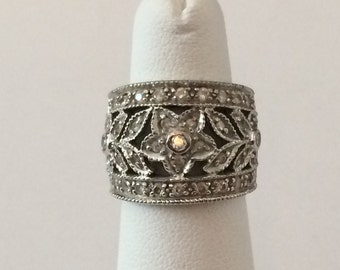 Size 5 Sterling Silver Wide Band And Clear Rhinestone Filigree Flower Ring