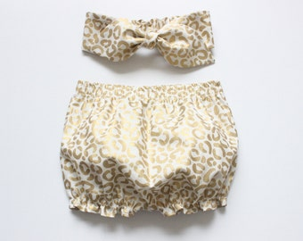 Baby Bloomers and headband set in metallic gold leopard print
