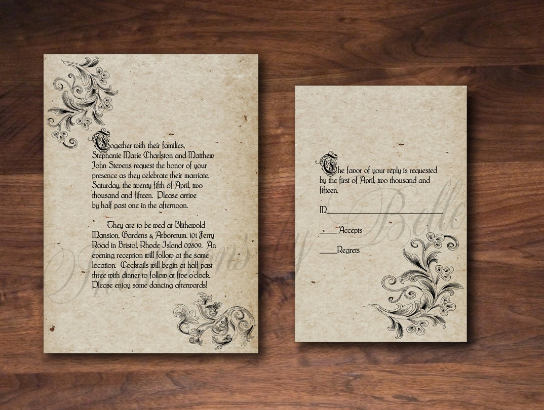 old english wedding invitations | Wedding