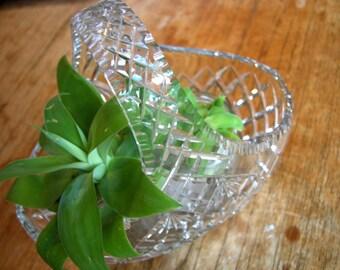 Antique Large Stuart Crystal Diamond Cut Basket