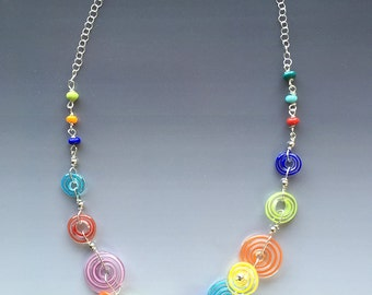 Peppermint Necklace in Multicolor: handmade glass lampwork beads with sterling silver components