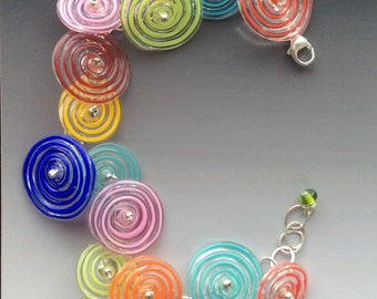 Peppermint Bracelet: multi color - handmade glass lampwork beads with sterling silver components