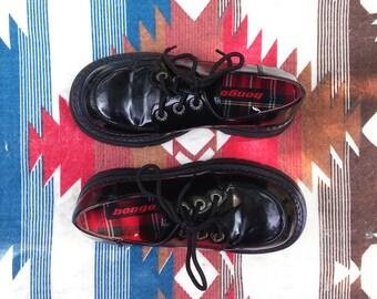 90s Super Chunky Platform Black Lace Up Oxfords Vegan Leather  |  US Women's Size 6