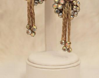 Vintage gold and aurora borealis rhinestone art deco tassel earrings