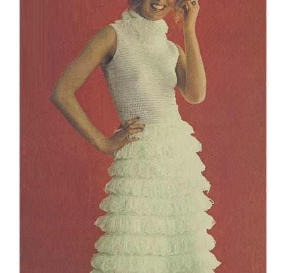 Crochet dress pattern vintage 70s crochet maxi dress for Wedding dress patterns free download
