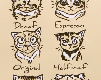 "Coffee Cats Screen Print Art Cat Silkscreen 11x17"" Poster"