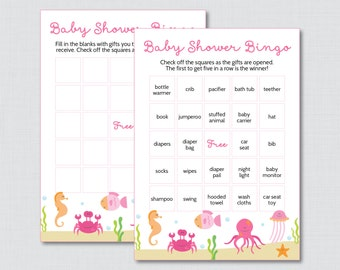 Under the Sea Baby Shower Bingo Cards in Pink - Printable Blank Bingo Cards AND PreFilled Cards - Under the Sea Baby Bingo - 0020-P