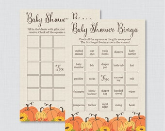 Pumpkin Baby Shower Bingo Cards - Printable Blank Bingo Cards AND PreFilled Cards - Little Pumpkin Fall Baby Shower Bingo Cards - 0032