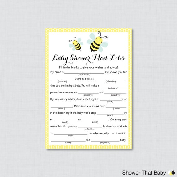 Bumble bee baby shower mad libs printable baby shower advice bumble bee baby shower mad libs printable baby shower advice cards mad libs game instant download yellow bumble bee baby 0021 pronofoot35fo Image collections