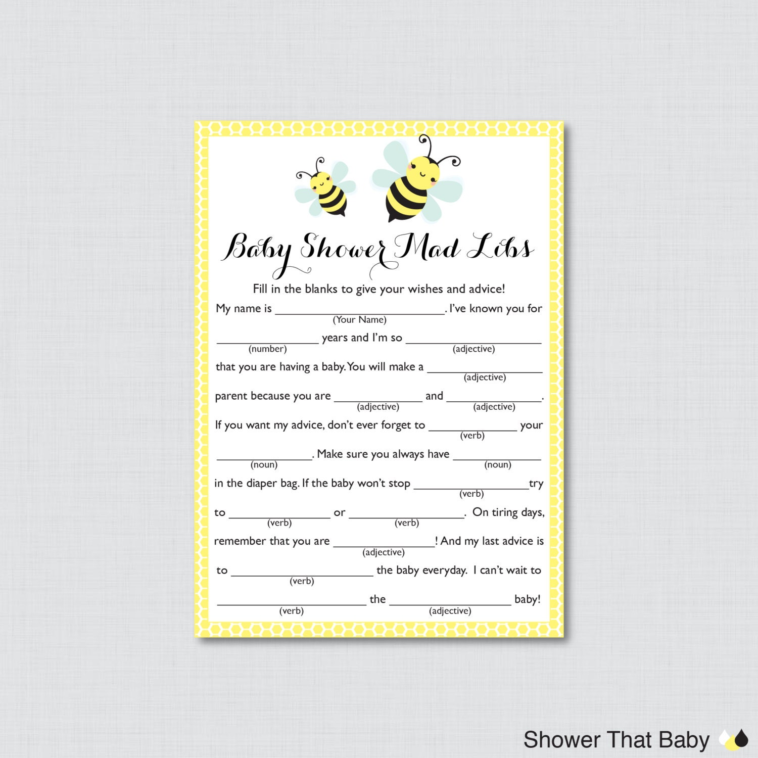 Bumble Bee Baby Shower Mad Libs Printable Baby Shower Advice