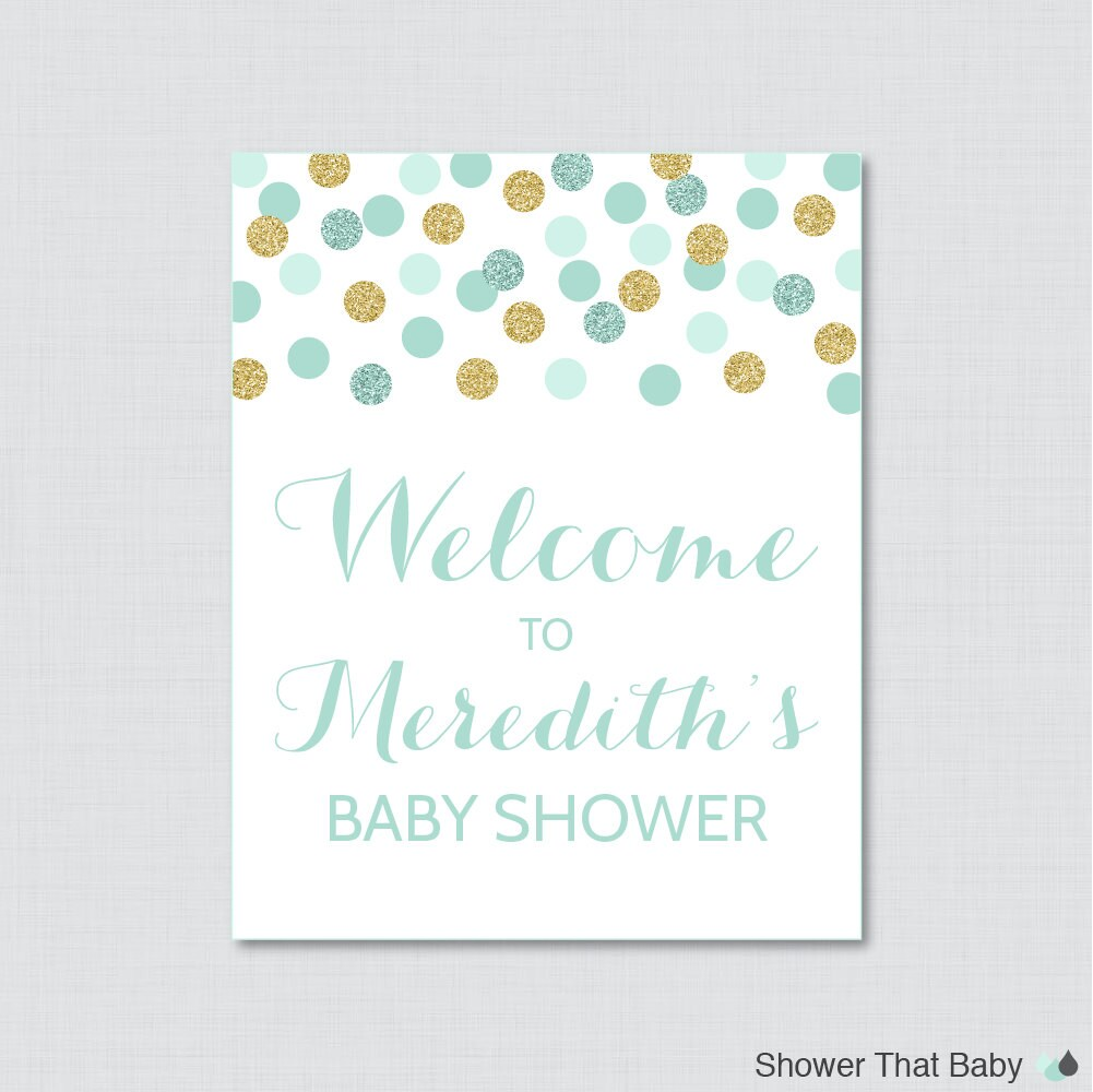 mint and gold baby shower welcome sign printable personalized