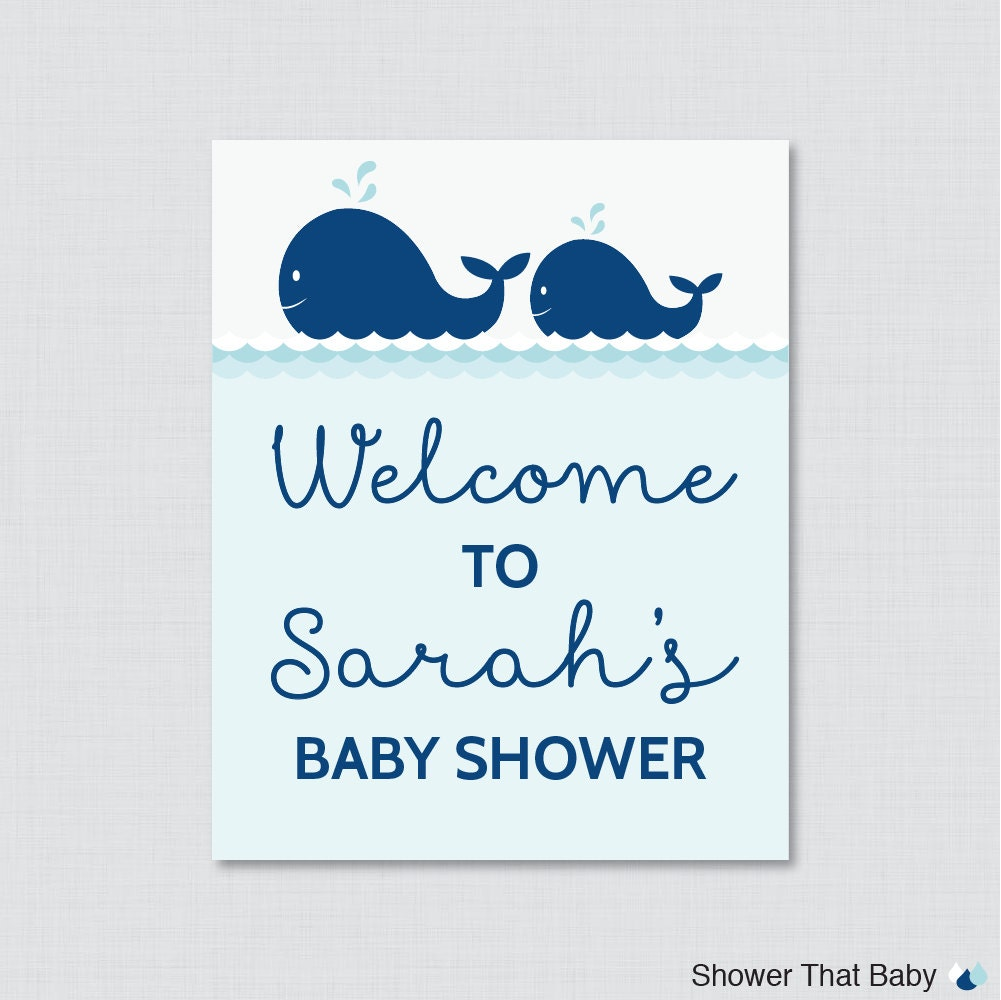 whale baby shower welcome sign printable personalized shower