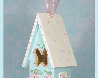 "Custom Baby Birdie Birdhouse - Hand-painted Pastel Birdhouse - ""Dainty Diamonds"""