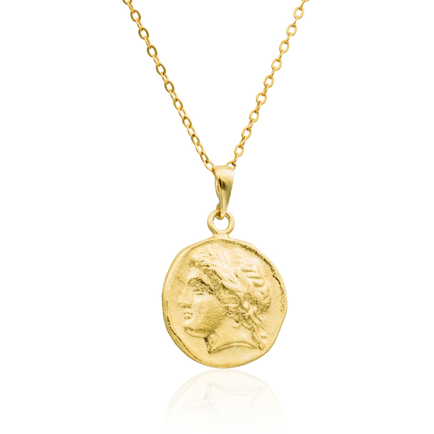 Gold necklace 14k gold filled roman coin necklace gold coin for Gold filled jewelry