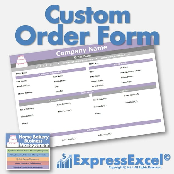 Cake, Cupcake, And Cookie Decorating Business Printable Order Form |  Receipt Template | Microsoft Excel Spreadsheet | Mac + PC  Microsoft Excel Order Form Template