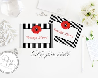 "Black & White Stripe Place cards Template-Instant Download- DIY Editable Text Only- Black White Stripe Red Anemone Poppy-""Penelope"""