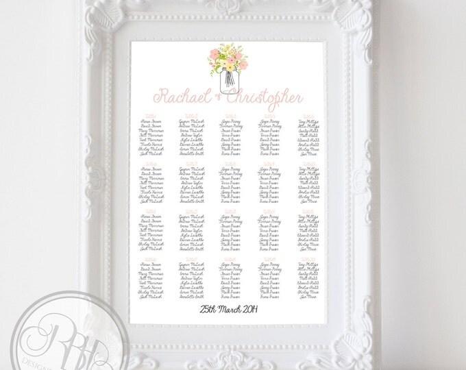 "Rustic Wedding Seating Chart - Rustic Mason Jar with Pastel Roses, Peonies, Freesia Flowers Digital Files DIY Printable-""Georgina"""