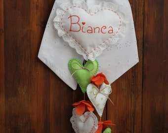 Stitchable broderie, Orange and Apple green shabby chic style