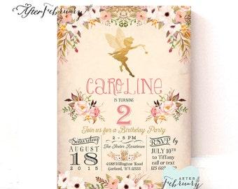 Fairy Birthday Invitation // Fairy Invitation // Watercolor Floral  // Typography // Vintage Peach Background // Printable No.986