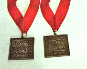 LOT OF 2 Revlon Run/Walk For Women Los Angeles 1990's Participant Medals