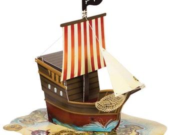 1/Pirates Map Ship Shape Centerpiece