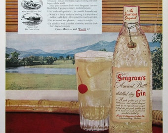 1951 Seagram's Ancient Bottle Distilled Dry Gin Ad - Now Gin Has Come of Age - 1950s Advertising - Vintage Alcohol Ads