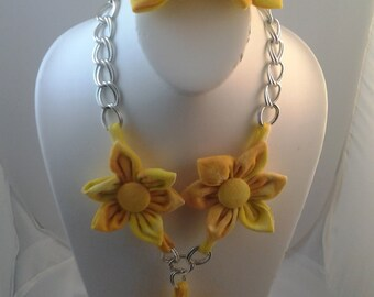Orange yellow tie dye tshirt jewelry set