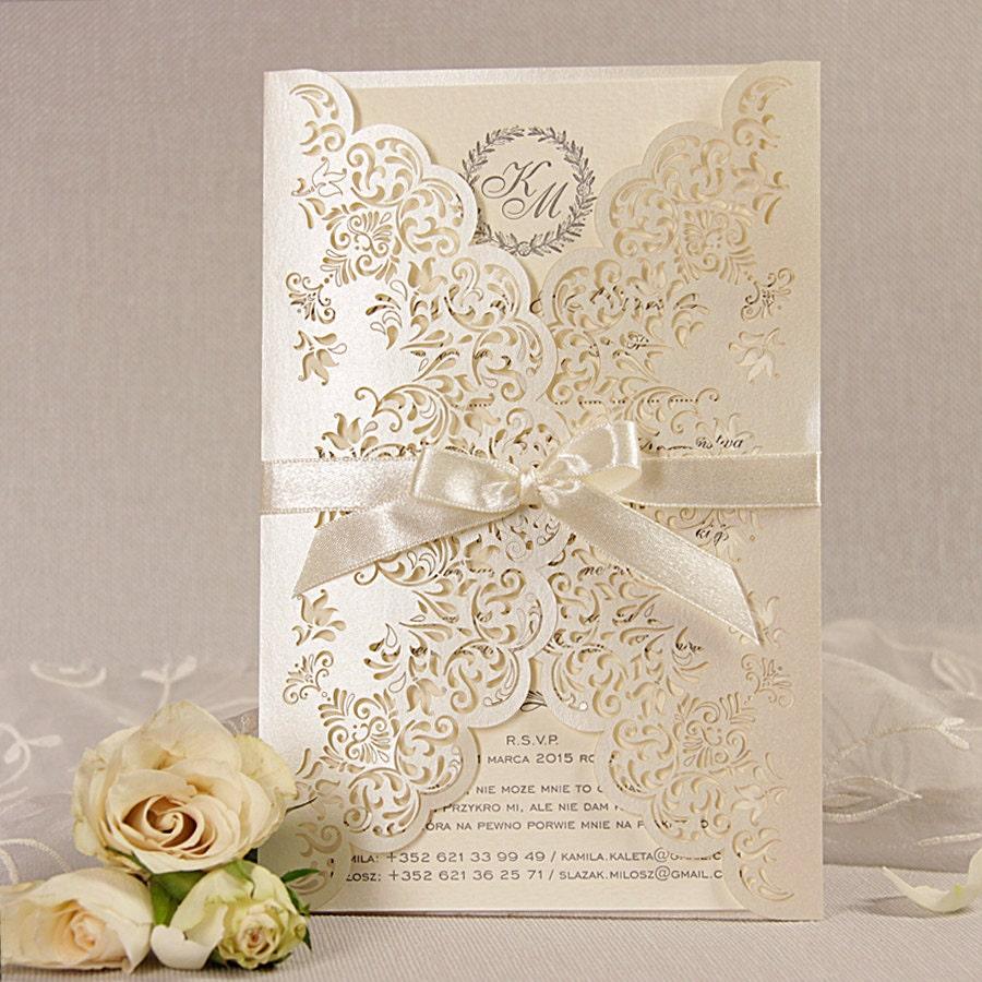 Wedding Laser Cut Invitations: Intricate Lace Laser Cut Day Gatefold Wedding Invitation