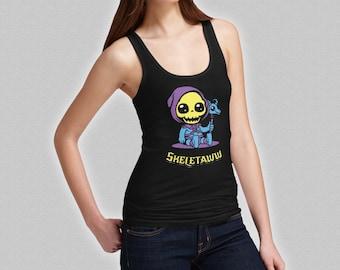 Skeletor Cute Tank Top - Skeletaww Ladies T-Shirt - Baby Skeleton He-Man - MOTU