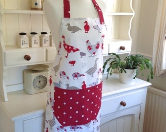 Red Ducks, Hens & Geese Apron, Ladies' Full Apron, Red Dotty Apron, Adjustable Apron