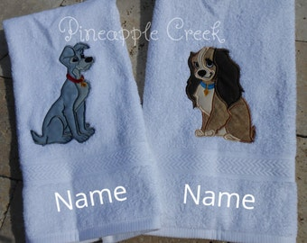 Lady and the Tramp Hand Towels FREE MONOGRAM
