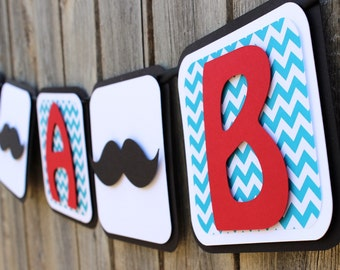 Mustache Banner, Mustache Baby Shower Banner, Chevron Baby Shower Banner, Mustache It's a Boy, Chevron It's a Boy, Little Man Banner,