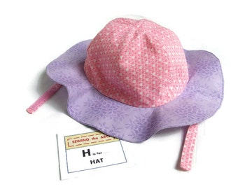 Children's SUNHAT in Purple and Pink with Chin Strap