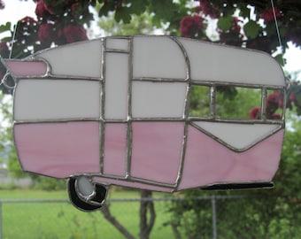 Vintage inspired Travel Trailer stained glass suncatcher
