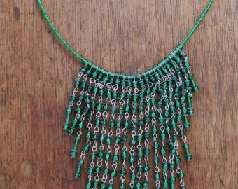 Vintage Green Glass Beaded Bib Necklace