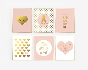 Pink and Gold Nursery Decor, Dream Big Little One, You are so loved, Girl Gallery Wall, Nursery Print Decor, Wall art, Pink nursery (1620-6)