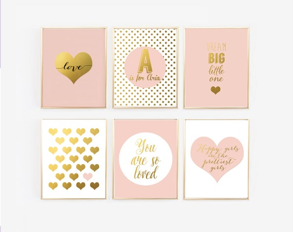 Pink and gold nursery decor dream big little one you are so for Pink wall art
