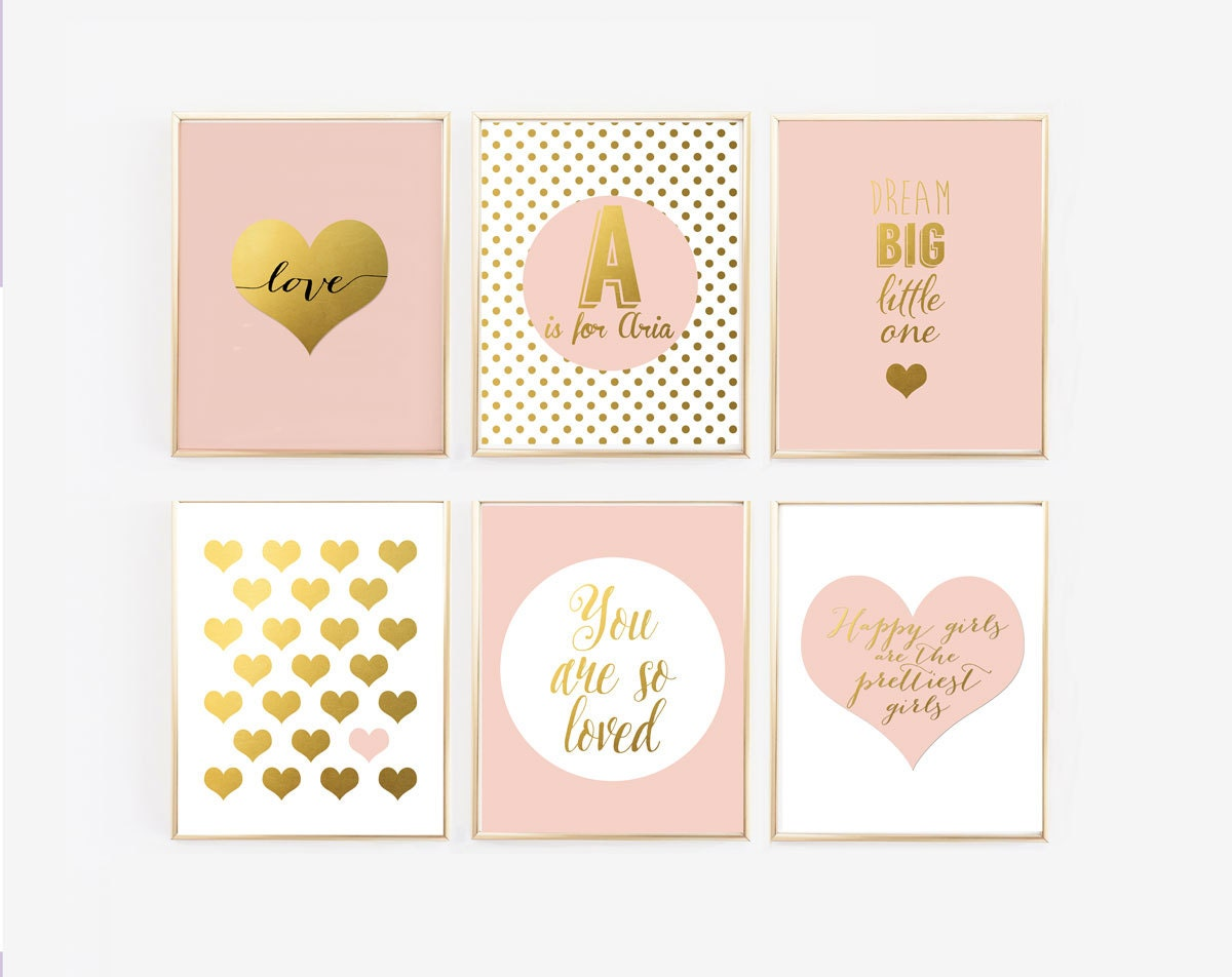 Pink and gold nursery decor dream big little one you are so for Decor dreams